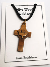 画像をギャラリービューアに読み込む, Handmade in Bethlehem olive wood cross with dove pendant with black cord in packaging