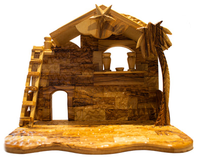 olive wood stable, made in Bethlehem. Star of Bethlehem
