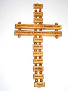 Lord's Prayer on olive wood cross, made in Bethlehem. Ladder style, to be hung on wall.