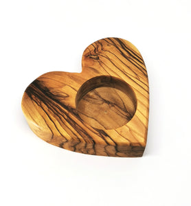 Handmade olive wood heart shaped tea light candle holder, hand made in Bethlehem