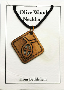 Handmade in Bethlehem, olive wood cross in fish, square pendant with black cord in packaging