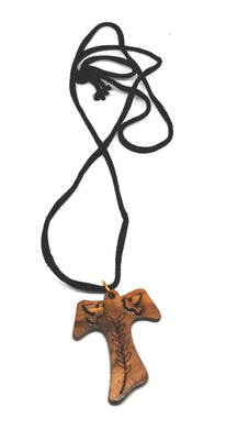 Handmade in Bethlehem, olive wood cross pendant with olive branch and two doves with black cord