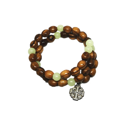 wrap around olive wood rosary bracelet from holy land Bethlehem, ivory coloured beads and Jerusalem cross