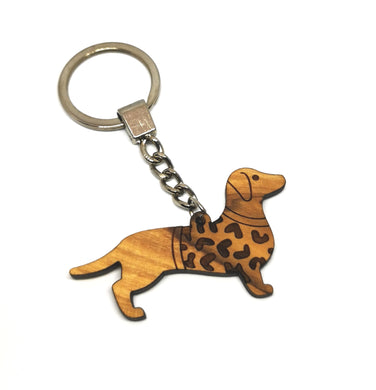 Sausage dog with heart jumper, olive wood keyring made in Bethlehem