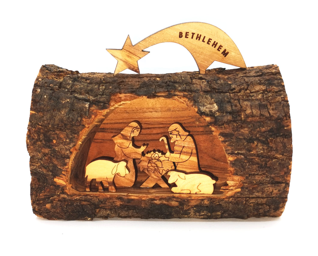 Olive wood shooting star hand made nativity from holy land Bethlehem. Mary, Joseph, Baby Jesus in Manger, lambs