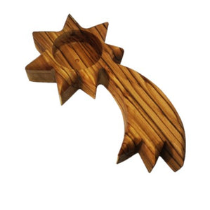 Handmade olive wood shooting star shaped tea light candle holder, hand made in Bethlehem