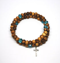 画像をギャラリービューアに読み込む, wrap around olive wood rosary bracelet from holy land Bethlehem, blue beads and cross