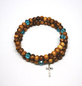 wrap around olive wood rosary bracelet from holy land Bethlehem, blue beads and cross