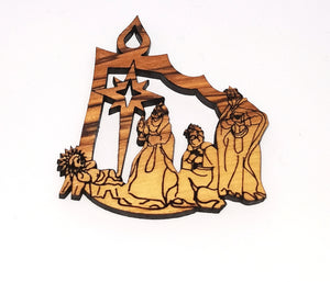 2D olive wood Christmas decoration. 3 kings visiting baby Jesus