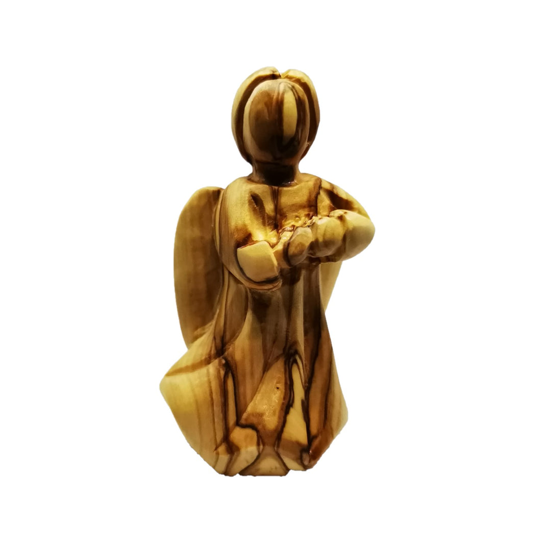 Hand carved olive wood angel made in Bethlehem, unique grain
