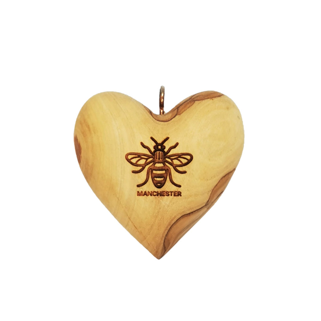 Manchester bee olive wood heart decoration, differing grains