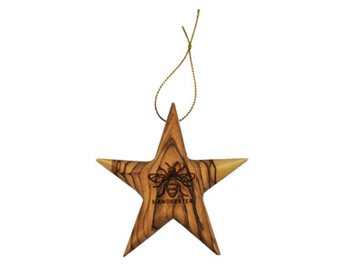 Manchester bee olive wood star decoration, differing grains