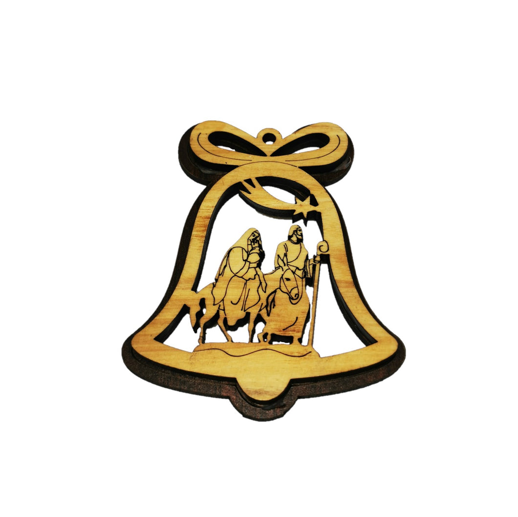 double layered Christmas tree decoration made from olive wood in Bethlehem. Flight to Egypt in bell shaped decoration