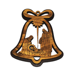 double layered Christmas tree decoration made from olive wood in Bethlehem. Nativity scene in bell shaped decoration
