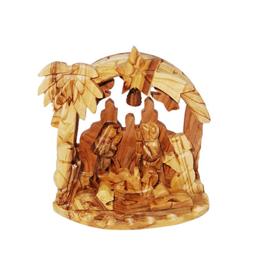 Nativity scene, handmade in Bethlehem. Olive wood from Holy Land. Mary, Joseph and baby Jesus, animals in stable, palm tree, the Star of Bethlehem, angels and bell
