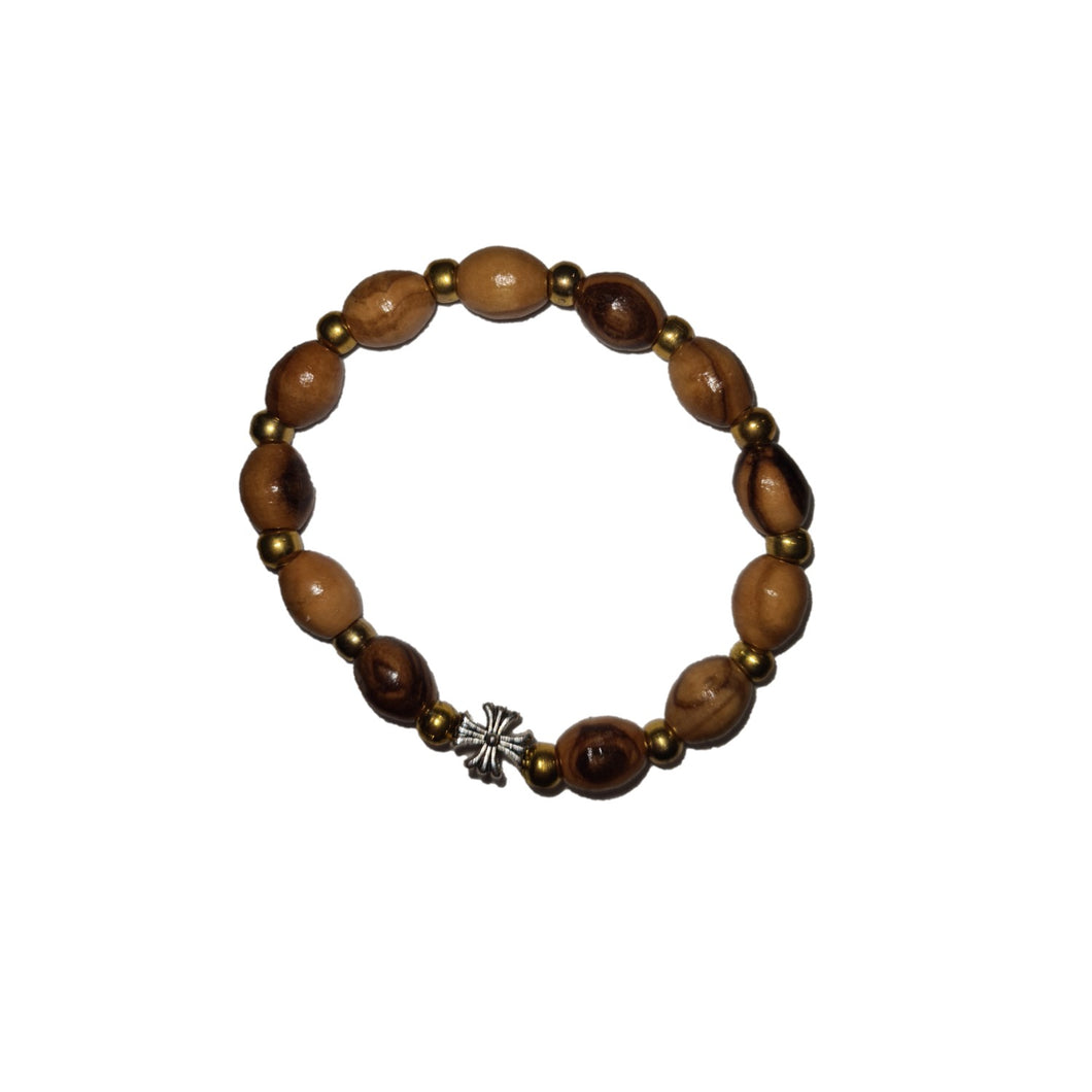 Olive Wood Golden Beads Bracelet