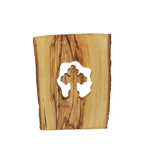 Reverse of cross cut into natural olive wood