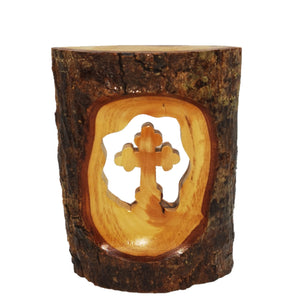 cross cut into natural olive wood with bark, hand made in Bethlehem