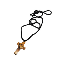 画像をギャラリービューアに読み込む, Handmade in Bethlehem olive wood cross with dove pendant with black cord