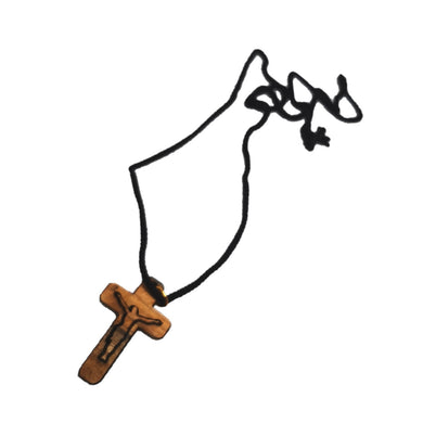 Handmade in Bethlehem olive wood crucifix  pendant with black cord