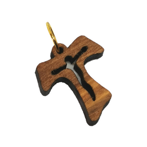 Handmade in Bethlehem olive wood cross pendant