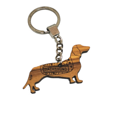 olive wood sausage dog wearing jacket keyring