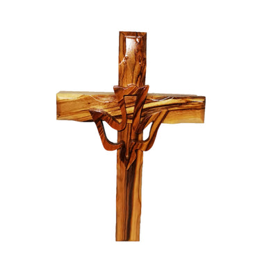 Hand carved olive wood cross with hand made wooden dove outline attached to the middle
