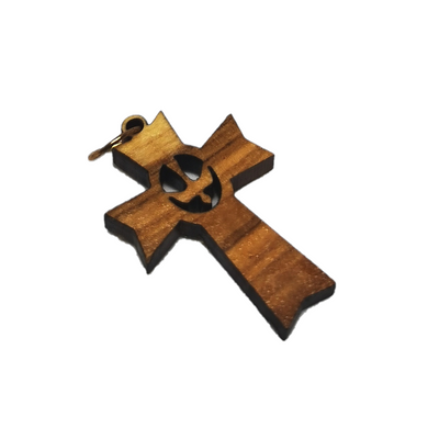 Handmade in Bethlehem olive wood with dove cut out the middle cross pendant