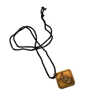 Handmade in Bethlehem, olive wood cross in fish, square pendant with black cord