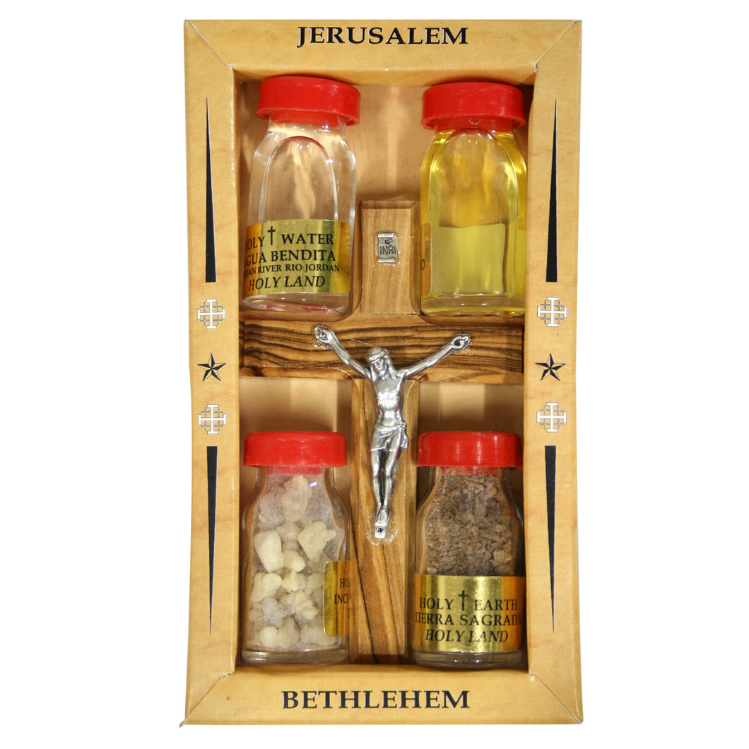 Holy Land Complete Gift Set - Holy Water, Soil, Oil and Incense with Cross