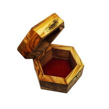 Load image into Gallery viewer, Inside of olive wood trinket box hand made in Bethlehem , lined with red velvet