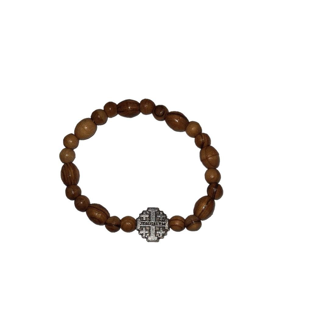 Olive Wood Bead Bracelet with Jerusalem Cross