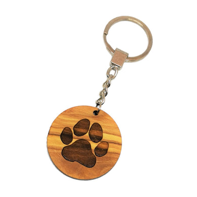 Circular olive wood keyring with paw print, on chain on