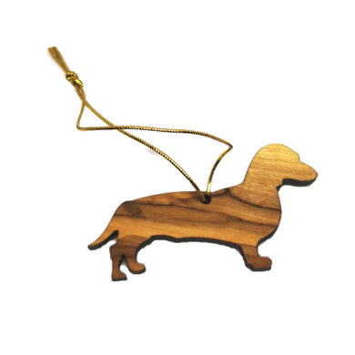 Sausage dog olive wood decoration made in Bethlehem