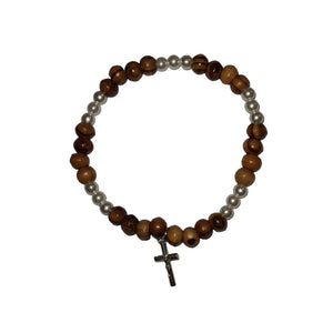 Pearl Bead and Olive Wood Bead Bracelet With Silver Cross
