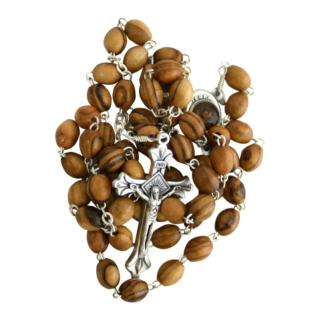 Wooden Rosary With Soil From The Holy Land