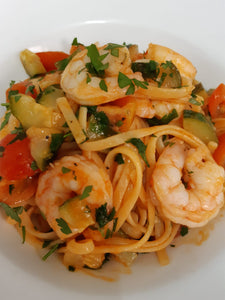 Linguine with king prawns and courgette in garlic and white wine - PHONE TO ORDER