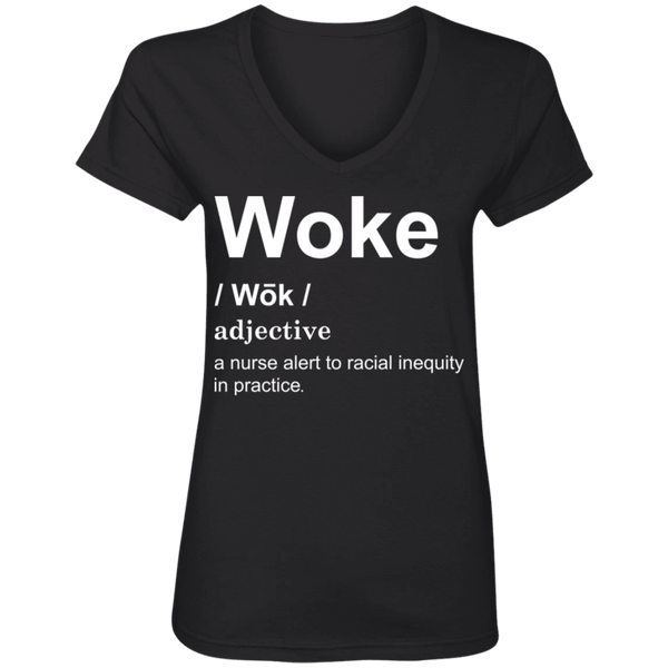Woke Nurse Ladies' V-Neck T-Shirt