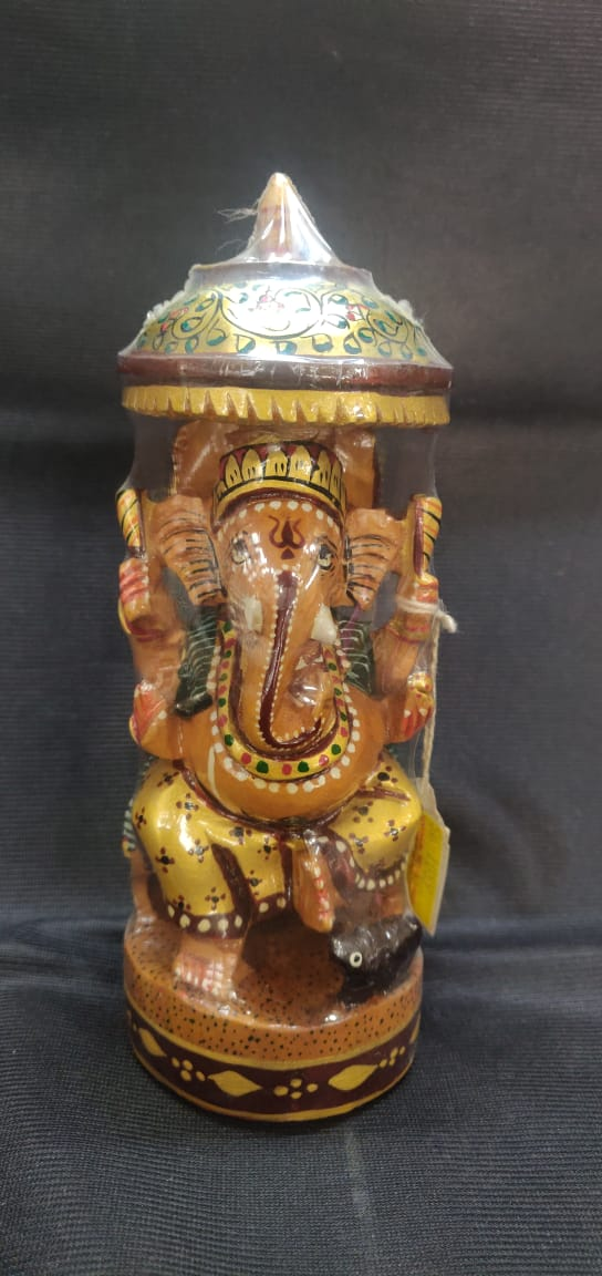 White Wood Ganesh (Painted) - 7in