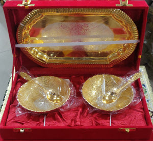 Brass Bowls Set (Gold & Silver Coated)