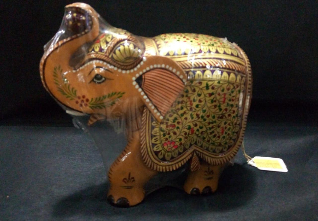 White Wood Elephant (Painted) - 6.5in