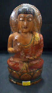 White Wood Budha (Painted) - 10in