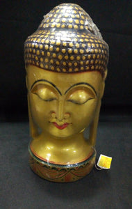 White Wood Budha Head (Painted) - 8in