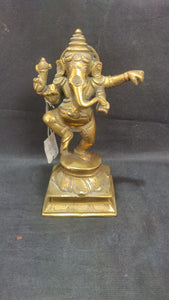 Brass Dancing Ganesh 7in