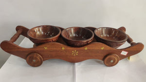 Saharanpur Wood Dry Fruits Bowls and Trolley 15x4.5in