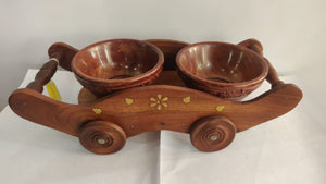 Saharanpur Wood Dry Fruits Bowls and Trolley 11x4.5in