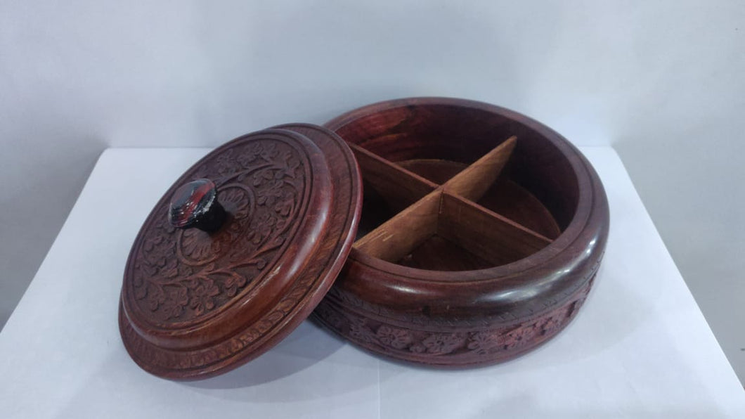 Saharanpur Wood Carving Dry Fruit Box 8x3in