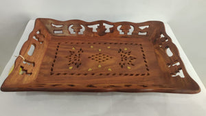 Saharanpur Wood Carving Tray 13x8.5in