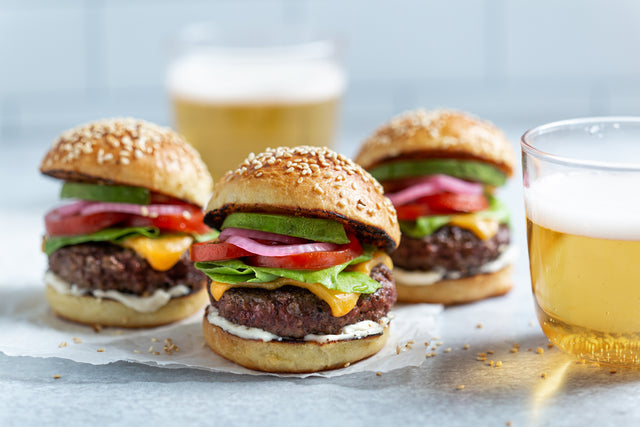 Beef Sliders with Avocado and Pickled Onions