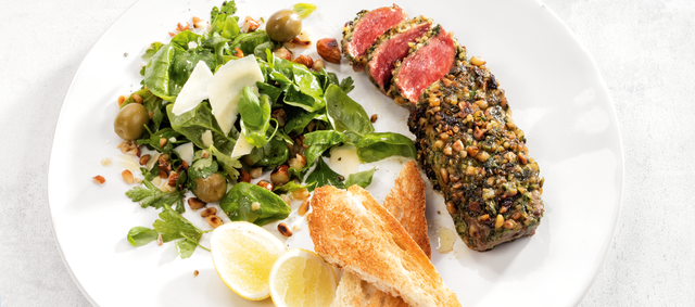 Beef Flat-Iron Steaks with Italian Herb Rub and Pesto Salad